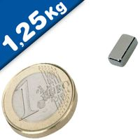 Quadermagnet Magnet-Quader  10 x  6 x  2mm Neodym N52, Nickel - Haftkraft 1,25kg
