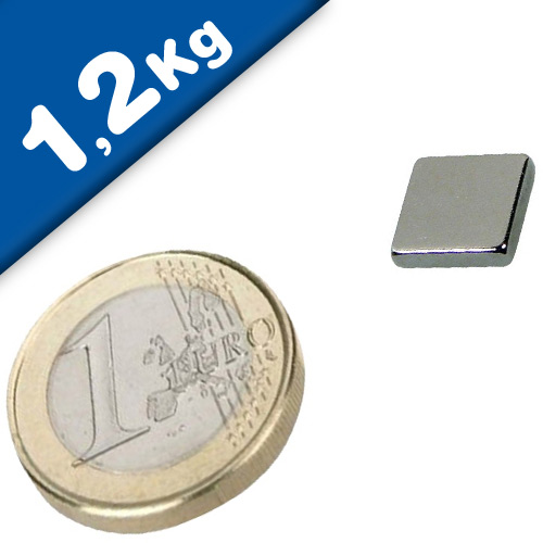 Block Magnet  10 x  10 x  2mm Neodymium N45, Nickel - pull 1,2 kg