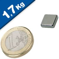 Block Magnet  10 x  10 x  3mm Neodymium N45, Nickel - pull 1,7 kg