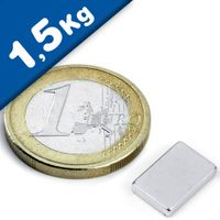 Quadermagnet Magnet-Quader  12 x  7 x  2mm Neodym N44H, Nickel - Haftkraft 1,5kg