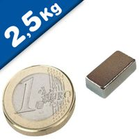 Quadermagnet Magnet-Quader  13 x  6 x  4mm Neodym N35, Nickel - Haftkraft 2,5 kg