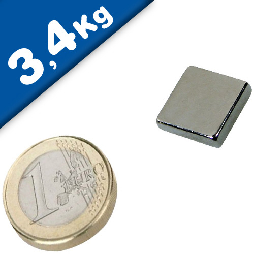 Block Magnet  15 x  15 x  3mm Neodymium N45, Nickel - pull 3,4 kg