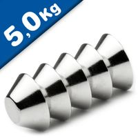 Konusmagnet Ø 15,0 / 8,0 x 6 mm – Neodym N42, Nickel - Haftkraft 5 kg