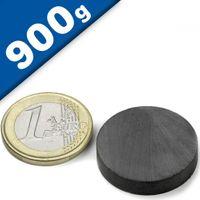 Scheibenmagnet Rundmagnet Ø 25 x  5mm Ferrit Y35 - hält 900g - Keramik-Magnet