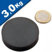 Aimant rond Disque magnétique Ø 50 x 10mm Ferrite Y30 sans placage – Force 3,0kg