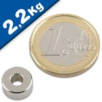 Ring magnet Ø 10/4 x 5mm Neodymium N42, Nickel – pull 2,2 kg