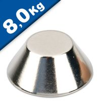 Konusmagnet Ø 20,0/15,0 x 8,0 mm – Neodym N40, Nickel - Haftkraft 8 kg