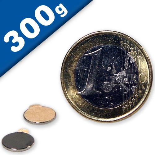 Disco magnetico autoadesivo Ø 8 x  0,75mm Neodimio N35 - forza 0,3 kg