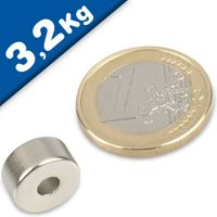 Ring Magnet Ø 12/4 x 6mm Neodymium N50, Nickel - pull 3,2 kg