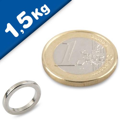 Ring Magnet Ø 12/9 x 1,5mm Neodymium N45, Nickel - pull 2,2 kg