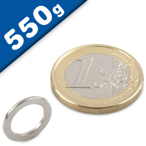 Ring Magnet Ø 13/9 x 1mm Neodymium N40, Nickel - pull 550 g