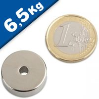 Ring Magnet Ø 20/4 x 7mm Neodymium N35, Nickel – pull 6,5 kg