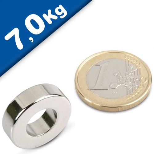 Ring Magnet Ø 20/10 x 6mm Neodymium N44, Nickel – pull 7 kg