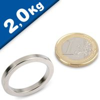 Ring Magnet Ø 27/21 x 3mm Neodymium N40, Nickel – pull 2 kg
