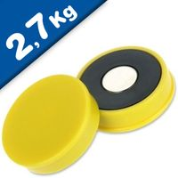 Marker/Notice Board Magnet Ø 30 x 8mm Neodymium, yellow – pull 2,7 kg
