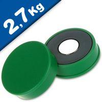 Imán de Oficina Ø 30mm x 8mm Neodimio, verde - fuerza 2,7 kg