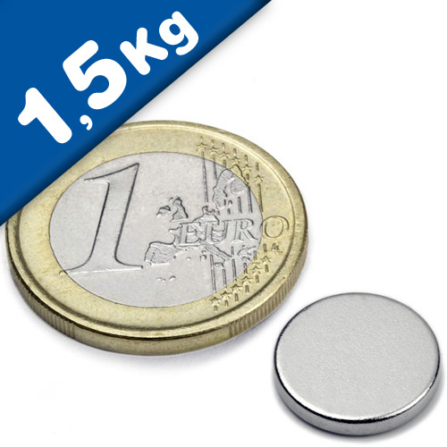 Round Disc Magnet Ø  13 x  2mm Neodymium N45 (Rare Earth), Nickel - pull 1,5 kg