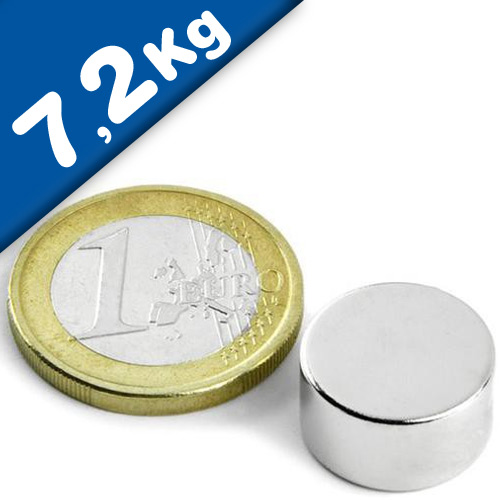 Round Disc Magnet Ø  15 x  8mm Neodymium N42 (Rare Earth), Nickel - pull 7,2 kg