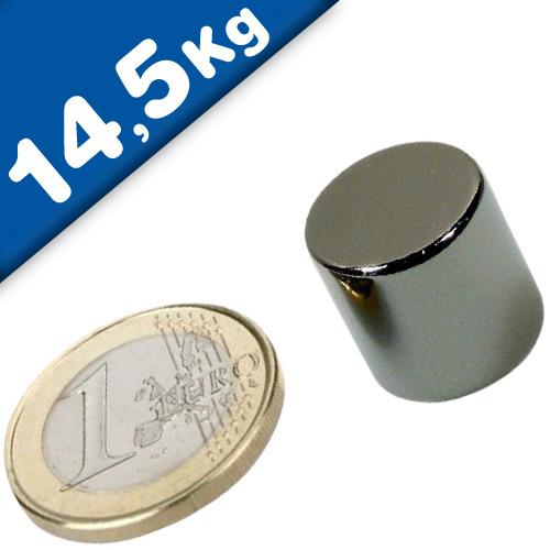 Scheibenmagnet / Rundmagnet Ø 15x15mm – Neodym N42 (NdFeB) Nickel - hält 14,5kg