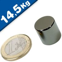 Round Disc Magnet Ø  15 x 15mm Neodymium N42 (Rare Earth), Nickel - pull 14,5 kg
