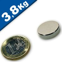 Round Disc Magnet Ø  18 x  4mm Neodymium N45 (Rare Earth), Nickel - pull 3,8 kg