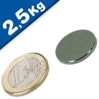 Round Disc Magnet Ø  20 x  2mm Neodymium N45 (Rare Earth), Nickel - pull 2,5 kg
