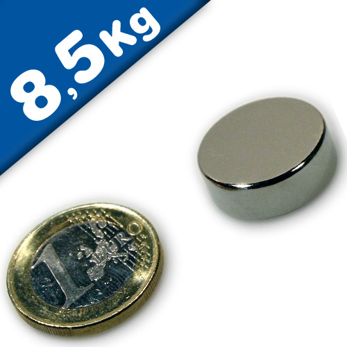 Round Disc Magnet Ø  20 x  7mm Neodymium N40 (Rare Earth), Nickel - pull 8,5 kg
