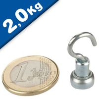 Magnetic Hook, Pot Magnet with Hook Ø  10 mm, Neodymium - pull 2 kg