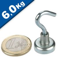 Magnetic Hook, Pot Magnet with Hook Ø  16 mm, Neodymium - pull 6 kg