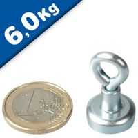 Eyebolt Magnet, Pot Magnet with Eyelet Ø  16 mm Neodymium – pull 6 kg