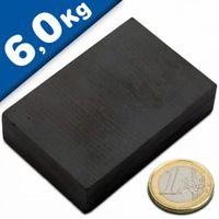 Aimant rectangulaire Bloc magnétique  60 x  40 x 15mm Ferrite Y35 - Force 6,0kg