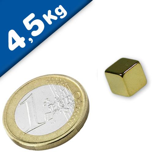 Cube Magnet   8 x  8 x  8mm Neodymium N45 (Rare Earth) Gold – pull 4,5kg