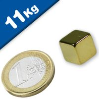 Cubo magnético 12 x 12 x 12mm Neodimio N48, Oro – fuerza 11 kg