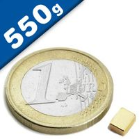 Quadermagnet Magnet-Quader   5 x   3 x  2mm Neodym N52, Gold - Haftkraft 550g