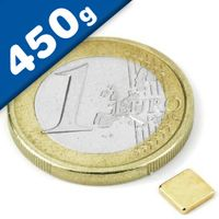 Quadermagnet Magnet-Quader   5 x   5 x  1,2mm Neodym N50, Gold - Haftkraft 450g