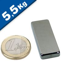 Block Magnet  40 x  15 x  3mm Neodymium N40, Nickel - pull 5,5 kg