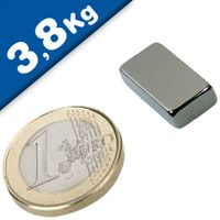 Block Magnet  20 x  10 x  5mm Neodymium N42, Nickel - pull 3,8 kg