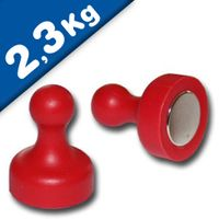 Magnetic Push Pins Skittle Magnet big Ø 19 x 25mm Neodymium - RED – pull 2,3 kg