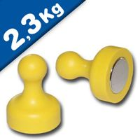 Magnetic Push Pins Skittle Magnet big Ø 19 x 25mm Neodymium - YELLOW, pull 2,3kg
