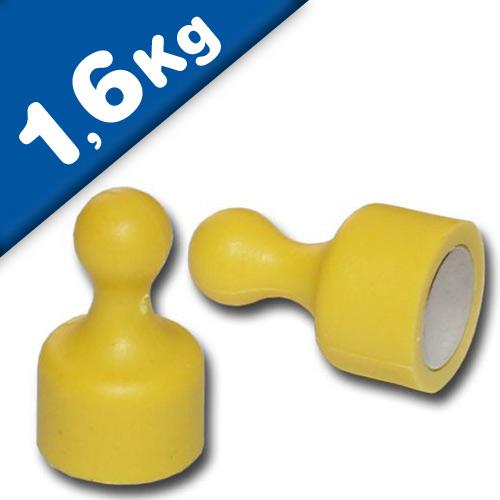 Magnetic Pins Skittle Magnet small Ø 12 x 20mm Neodymium - YELLOW – pull 1,6 kg