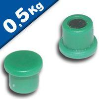 Imán de Oficina Ø 10mm x 8mm Neodimio, verde - fuerza 0,5 kg