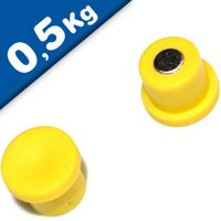 Imán de Oficina Ø 10mm x 8mm Neodimio, amarillo - fuerza 0,5 kg