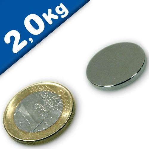Round Disc Magnet Ø  20 x  1,5mm Neodymium N45 (Rare Earth), Nickel - pull 2 kg