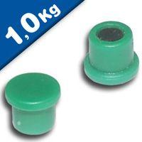 Imán de Oficina Ø 18mm x 8mm Neodimio, verde - fuerza 1 kg