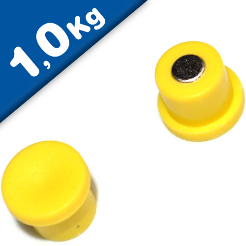 Marker/Notice Board Magnet Ø 18 x 8mm Neodymium, yellow – pull 1,0 kg