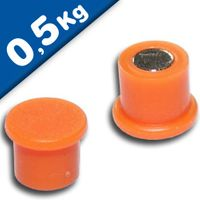 Pinnwand-Magnet Magnetpins Ø 10 x 8 mm Neodym (NdFeB) ORANGE – Haftkraft 0,5kg