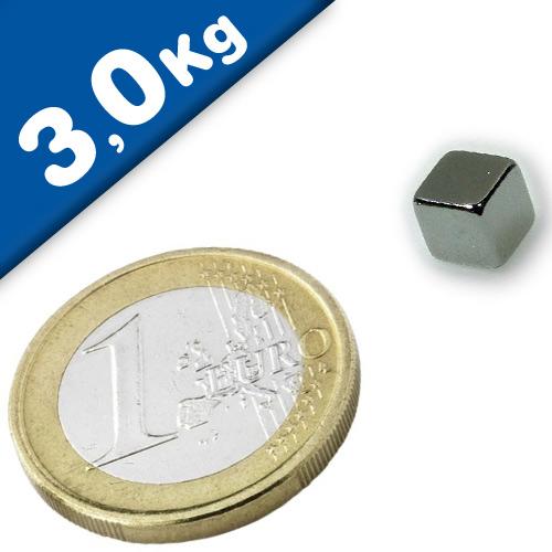 Cube Magnet   7 x  7 x  7mm Neodymium N42, Nickel – pull 3 kg
