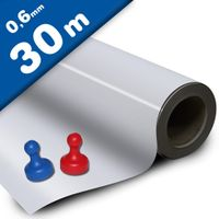 White gloss ferrous sheet with self adhesive 0,6mm x  62cm x 30m