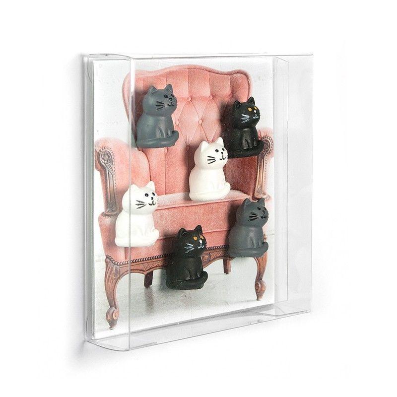 6 x k hlschrankmagnete katze 22x13x13mm magnete f r pinnwand magnettafel b romagnete dekomagnete. Black Bedroom Furniture Sets. Home Design Ideas