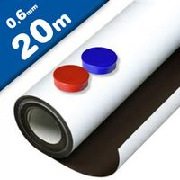 White matt ferrous sheet with self adhesive 0,6mm x 1m x 20m